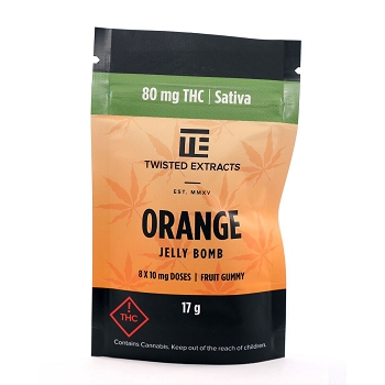 Twisted Extracts Orange Jelly Bomb – Sativa (80mg THC)